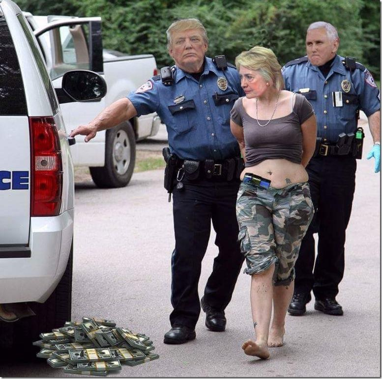 Hillary Clinton arrested by Donald Trump meme